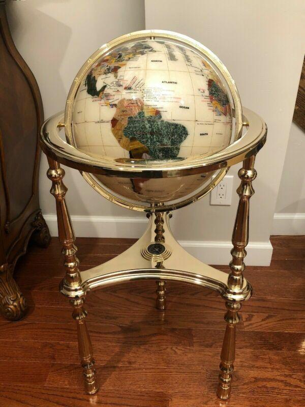 "Alexander Kalifano Mother of Pearl Gemstone Inlayed Globe 35"" Tall Rare"