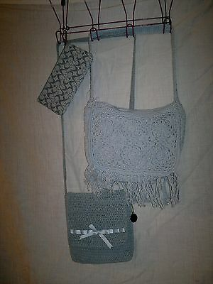 New BABY BLUE CROCHET PURSE BAG LOT  revised