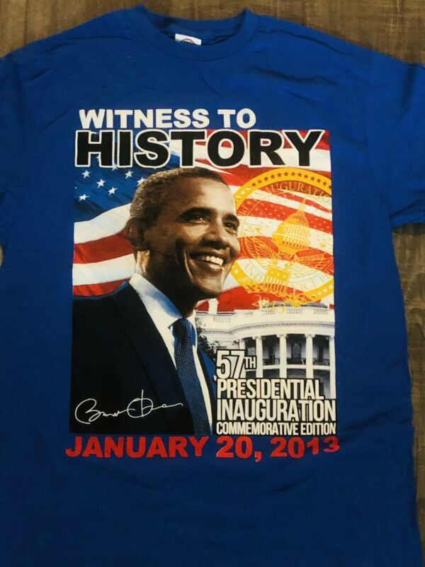 M 🇺🇸 President Obama T-shirts Witness To History-United States of America Blue