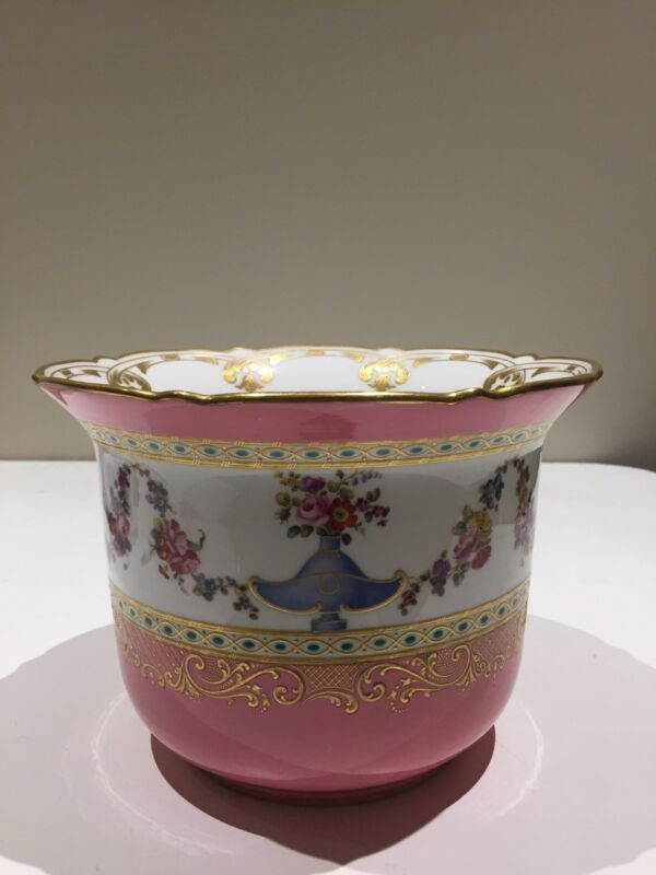 Antique English Porcelain Pink Cachepot, Mintons, Circa 1880