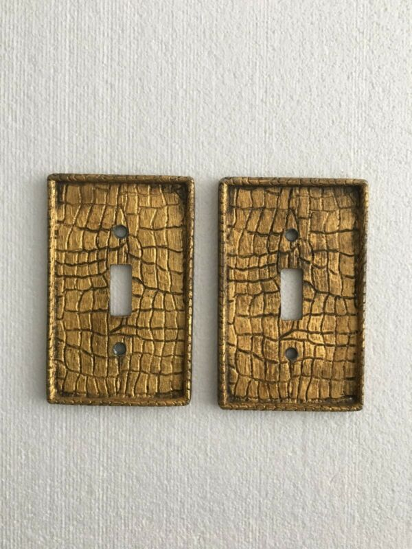 2 Vintage Metal Light Switch Cover Plates