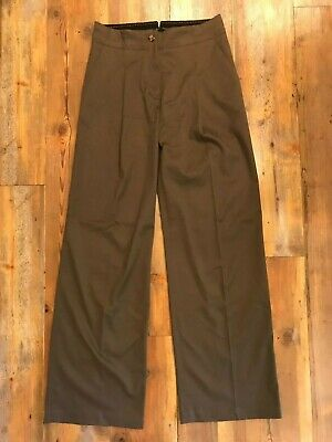 The Essential Wide-leg by ANTHROPOLOGIE Pants sz 4 Dk Taupe Brown EUC!