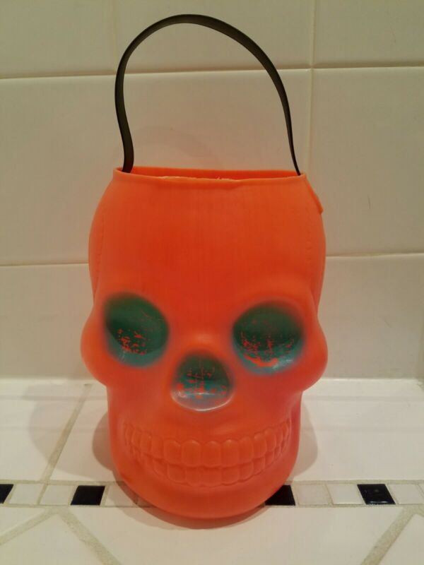 Vtg RARE AJ Renzi Skull Skeleton Halloween Candy Pail Bucket Blowmold