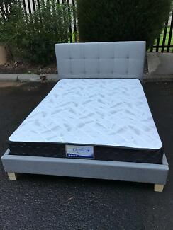 Brand new fabric bed frame with medium firm mattressD$380,Q$420