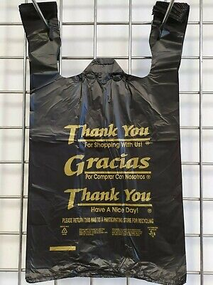 1/6 Large 21x6.5 x11.5 BLACK Thank You T-Shirt Plastic Grocery Shopping Bags 100