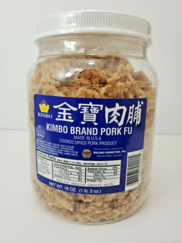 Kimbo Brand Pork Fu Cooked Dried Pork Product 18 oz - 1 lb 2 oz (Made in U.S.A.)