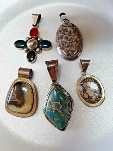 Vtg Lot of LRG Sterling Silver Pendants with Stones 88g Some Marked Taxco Mexico