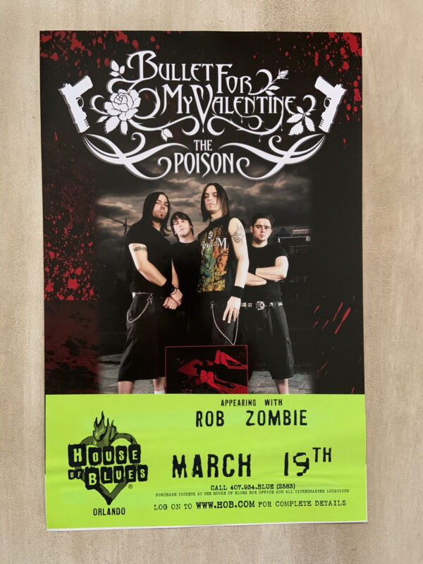 """Bullet For My Valentine """" The Poison """" House Of Blues Concert / Promo Poster"""