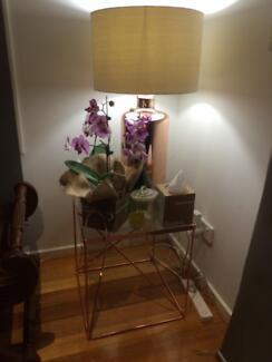 Designer. Tribeca. Side table & rise gold lamp