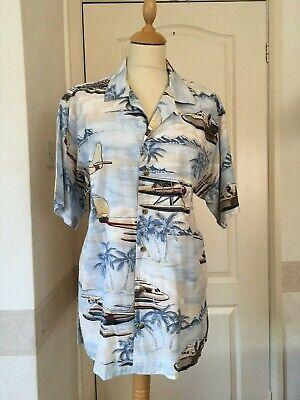 vintage 80s short sleeved Hawaiian shirt Planes Rockabilly Retro