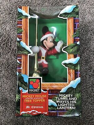 Vtg Mr Christmas Animated Mickey Mouse Lighted Lantern Tree Topper 1995 WORKS!