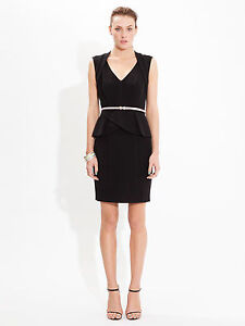 PORTMANS PEPLUM BLACK WORK DRESS - RRP $89.95 - SIZE 14