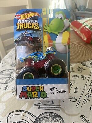 Hot Wheels Monster Trucks Super Mario YOSHI Monster Truck W/ Giant Wheels *NEW*