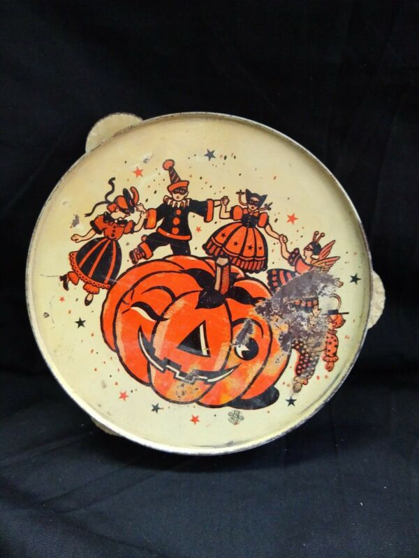 US Metal Toy Company Vintage Tambourine Tin Litho Halloween Noisemaker