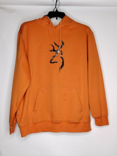 Browning Mens Size XL Color Orange 2 Small Dot Stains Long Sleeve Graphic Hoodie