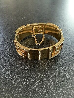 Gianni Versace Vintage Gold Greek Key Metal Bracelet
