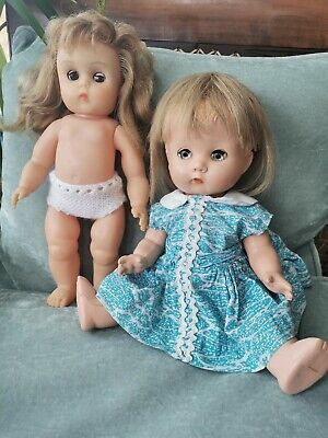 Vintage 1950s Hard Plastic BND doll  And Early Vinyl Doll marked made in England