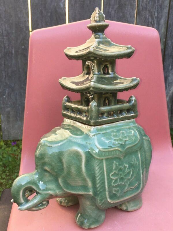 Antique Chinese Longquan Celadon Porcelain Elephant Pagoda Censer Incense Burner