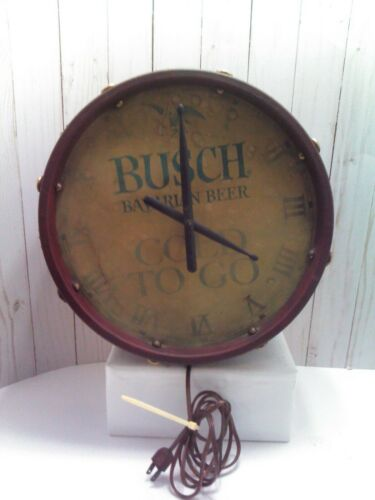 Vintage Anheuser Busch - Bavarian Beer Drum Clock Light  Cold To Go