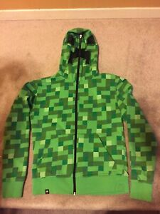 Jinx Minecraft Creeper Youth Zip Up Hoodie Size XS