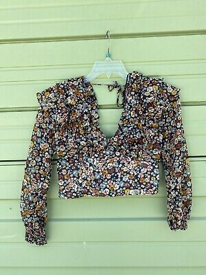 NWT ZARA Multi color FLORAL PRINT BLOUSE TOP Long Sleeves V-NECK Size S  #2274