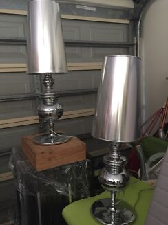 Pottery Barn table lamp (x2) silver mercury as new