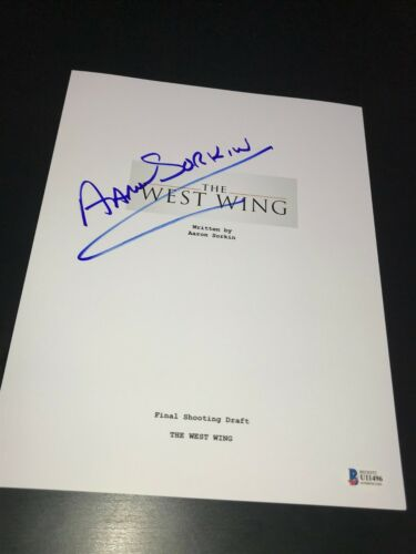 AARON SORKIN SIGNED AUTOGRAPH SCRIPT THE WEST WING TELEVISION BECKETT BAS AUTO E