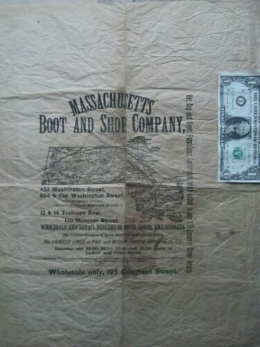 RARE1870 Victorian Package Advertising Wrapping Paper, Massachusetts Boot & Shoe