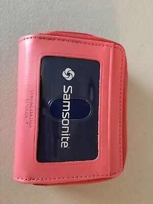 NEW samsonite pink leather women's wallet zipper closure 2 compartments