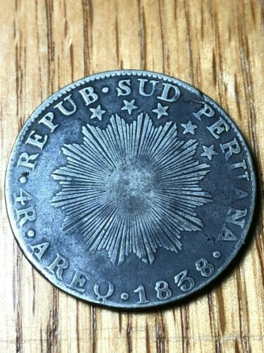 1838 South Peru 4 reales Arequippa AREQ silver republic Sud Peruana