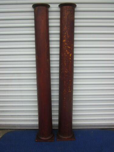 1900s Pair of Antique Oak Tapered Half Pedestal Columns