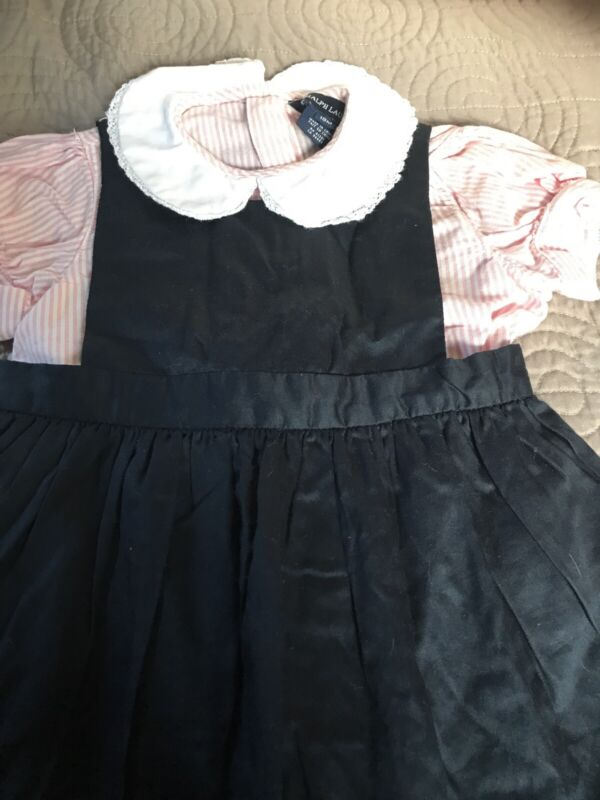 Ralph Lauren Little Girls Pink Blue Dress W/ Peter Pan Collar  18m 2 Piece