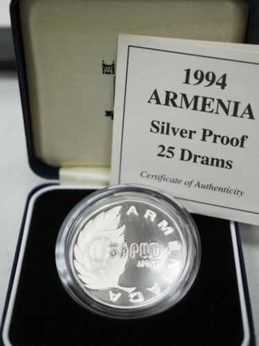 Armenia 1994 25 Dram Apricot Proof Silver Coin Box and Coa