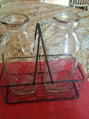 Vintage quart milk bottles with carrier, Maegog Farms G.O. Gadbois Salem, Conn.
