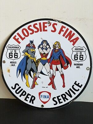 VINTAGE PORCELAIN FLOSSIE'S FINA US 66 GAS AND OIL SIGN