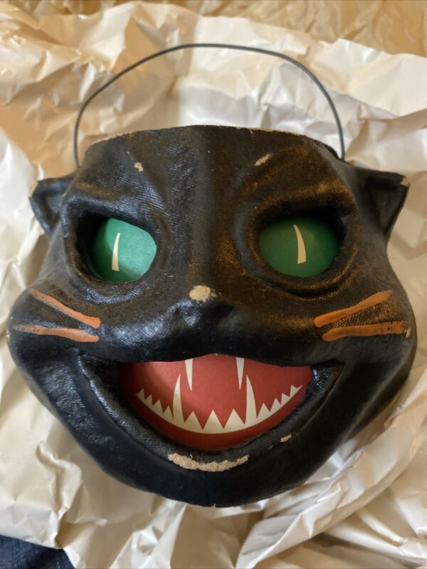 c.1998 HALLOWEEN Seasons Gone By PAPER MACHE BLACK CAT CANDY BUCKET Container