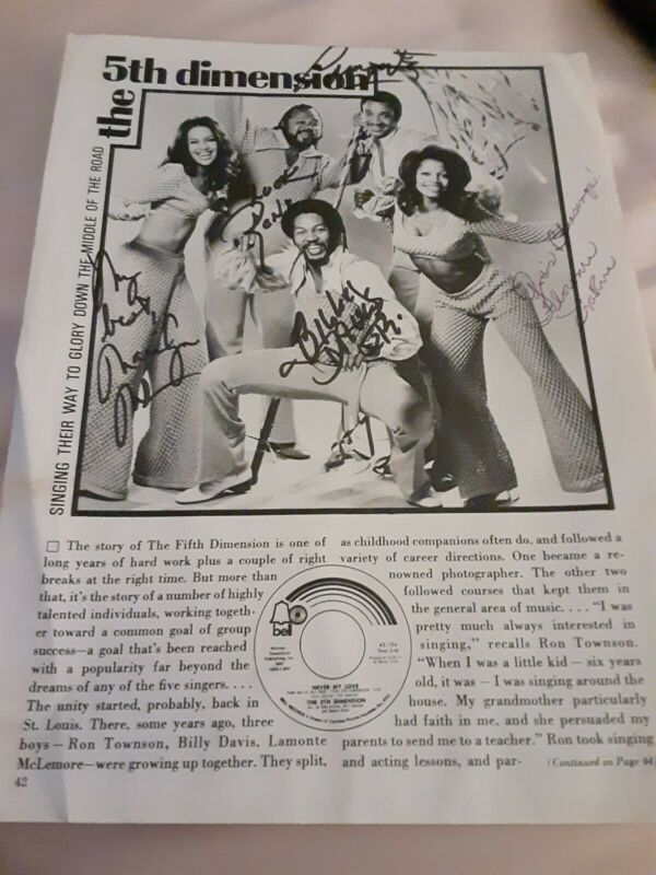 The Fifth Dimension Magazine Page Autographed By Band Bend on 1 Side