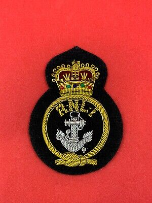 RNLI Lifeboats Coxswains Queen's Crown Cap Badge RNLI Embroidered Bullion Badge