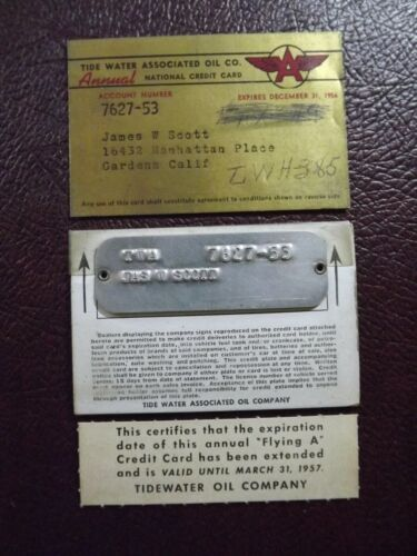 Vintage Tide Water Oil Company Credit Card with Metal Tag 1956