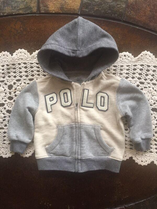 Ralph Lauren Polo Baby Boy's Gray Blue Hoodie Sweater Jacket 9  Month Zip Front
