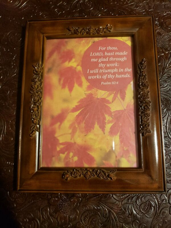 Beautiful Vintage Carved Flower Solid Wood Victorian Sty. Frame w/Scripture! 9×7
