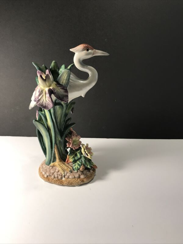 fitz and floyd figurineof Heron Crane and Orchids