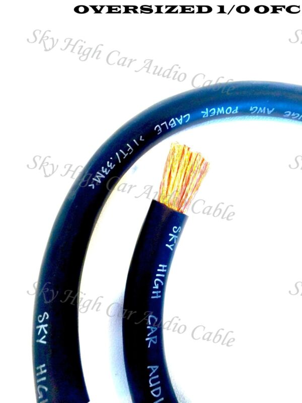 10 ft OFC 1/0 Gauge Oversized BLACK Power Ground Wire Sky High Car Audio