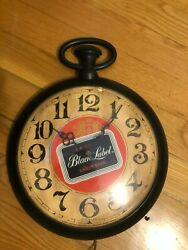 VINTAGE LARGE CARLING BLACK LABEL BEER POCKET WATCH WALL CLOCK - works!