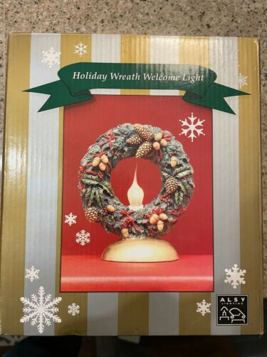 NEW IN BOX VINTAGE ALSY LIGHTED HOLIDAY WREATH Welcome Light CHRISTMAS