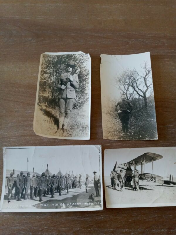 Four Great WWI Photographs Servicemen  1 Real Picture Postcard 1 Bi-Plane