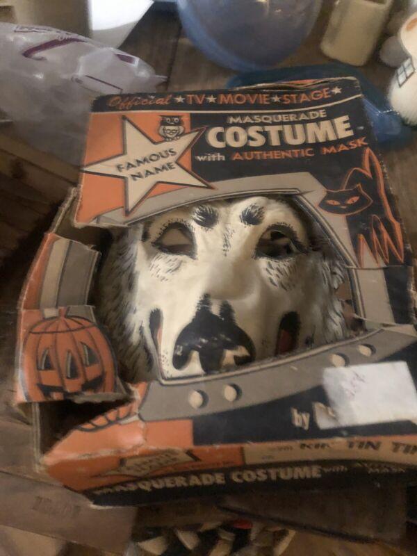 Vintage 1950s BEN COOPER Rin Tin Tin Dog HALLOWEEN MASK Costume Original Box