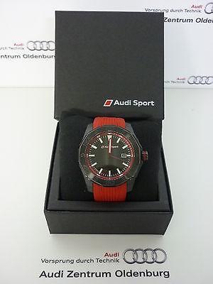 Original Audi Uhr,Audi Armbanduhr, Audi Sport Uhr,Audi Dreizeigeruhr rot/schwarz