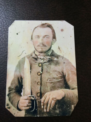 Civil War Military  SOLDIER with Large Knife tintype C849RP