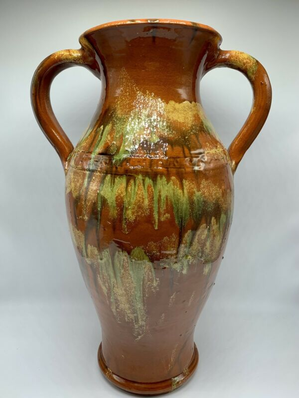 Vintage North Carolina Owens Pottery Large Two-Handled Vase